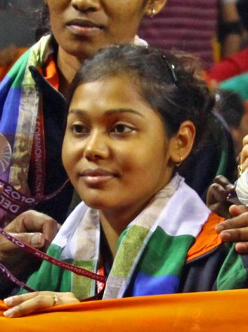 XIX Commonwealth Games-2010 Delhi: (Women's Table Tennis Team) Mouma Das, Shamini Kumaresan, Poulomi Ghatak, Mamta Prabhu and Madhurika Suhas of India won the Silver medal at the final match against Singapore, at Yamuna Sports Complex in Delhi on October 08, 2010.