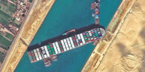 Traffic Jam is Suez Canal caused by Ever Given